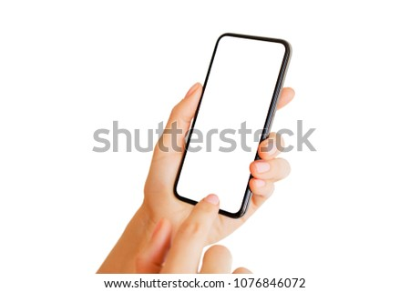 Person using phone with empty white screen. Mobile app mockup. #1076846072