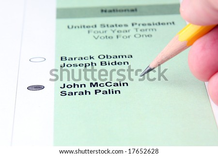Person voting for John McCain in the US presidential election - stock photo