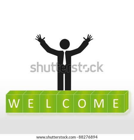 Person welcome new members group, abstract background