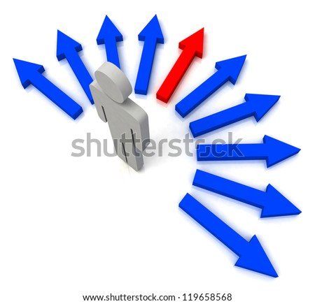 Person With Blue Arrows Showing Pathway Chosen