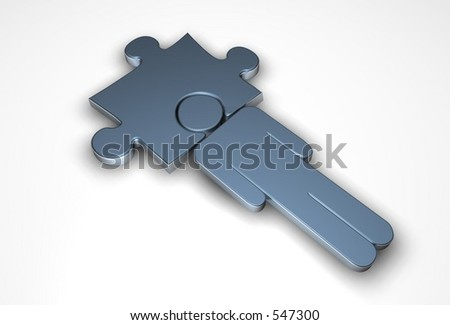 Person with head fitting into a puzzle piece - stock photo
