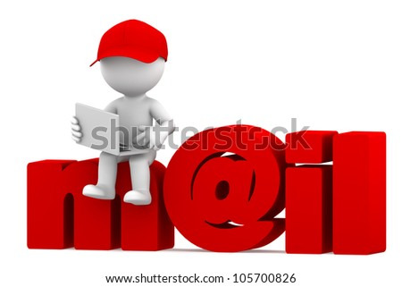 Person with laptop sitting on email sign. Isolated