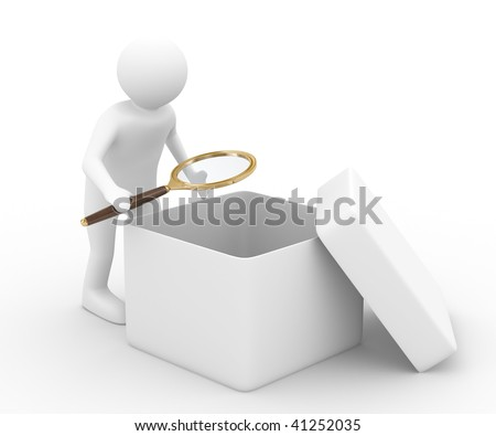 person with magnifier investigates empty box. Isolated 3D image