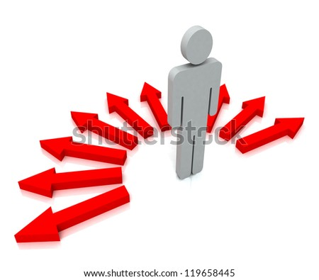Person With Red Arrows Shows Many Choices of Paths