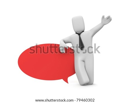 Person with speech bubble. Image contain clipping path - stock photo