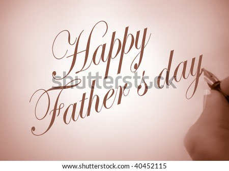 person writing Happy Father\'s Day in calligraphy in purple tone