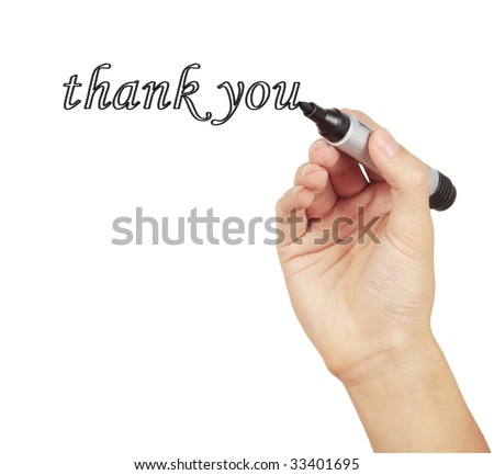Person writing thank you in calligraphy stock photo Thank you in calligraphy writing