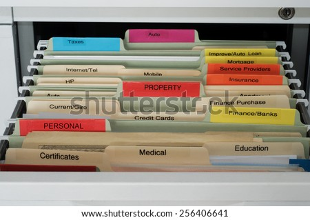 Personal and House Documents Organization -  Hanging Files in File Cabinet Drawer