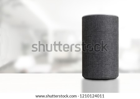 Personal assistant loudspeaker on a white wooden shelf of a smart home living room. Next, a carton box with the order, a plant and some books. Empty copy space for Editor's text.