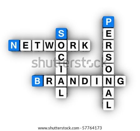 Personal Branding Social Network  (blue-white cubes crossword series)