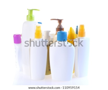Personal care bottles isolated.