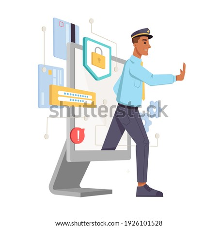 Personal data protection isolated cyber police officer. digital information security, internet technology hackers guard, policeman stop web attacks. Computer display and police fighting crimes Foto stock ©