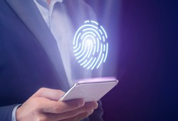 Personal Data Safety. Unrecognizable Businessman Using Phone Scanning Fingerprint For Access Verification Over Blue Background. Cropped