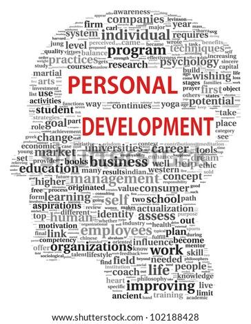 Personal development in tag cloud of human head shape on white