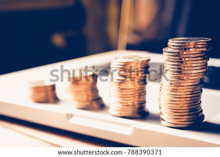 Personal financial planning concept. Businessman workplace with papers for financial planning. Business people discussing the charts and graphs showing the results of successful financial planning. #788390371