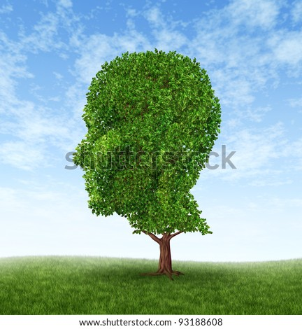 Personal growth and personality development as a medical symbol of psychology as a tree in the shape of a human head and brain as intelligence and social thinking for mental behavior health.