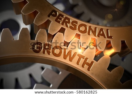 Personal Growth on the Mechanism of Golden Metallic Gears with Glow Effect. Personal Growth Golden Gears. 3D Rendering.