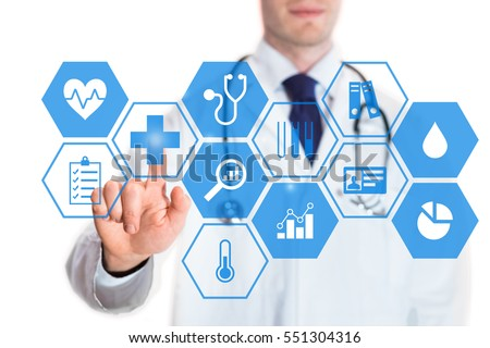 Personal health data concept on a virtual screen with icons about heart rate, blood pressure, body temperature and statistics and a medical doctor touching a button, isolated on white background