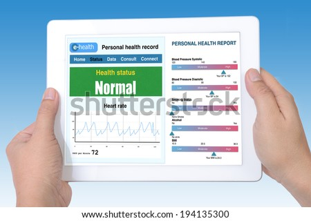 Personal health record and health report shown on tablet by e-health system.