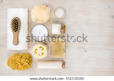 Personal hygiene objects on wood, view from above, right copyspace