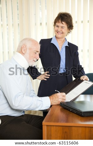 Personal injury lawyer winks as she signs a gullible client.