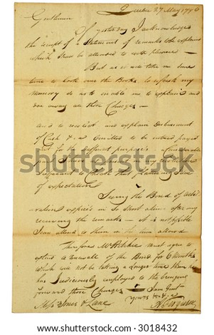 Personal letter from Quebec City, dated 1796.