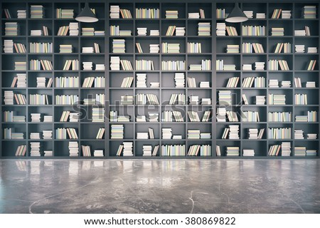 Personal library with big bookcase and concrete floor 3D Render