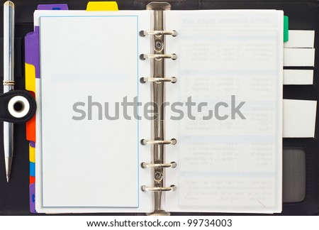 Personal organizer on white background