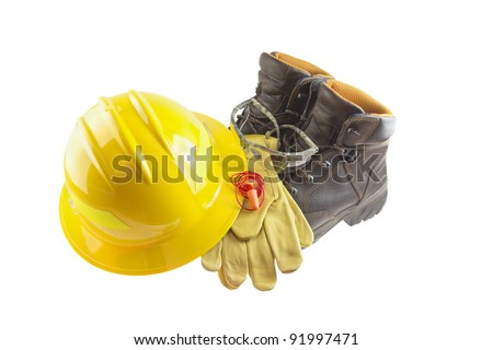 Personal protective equipment or PPE including leather boots, leather gloves, foam ear plugs, safety glasses, and yellow hard hat