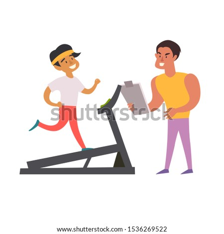 Personal trainer and running man on treadmill. Healthy lifestyle concept. Cardio on the gym. Isolated illustration on white background