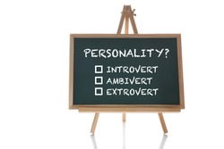 Personality introvert, extrovert and ambivert on chalkboard on white background. Human personality type concept and shy or outgoing person idea