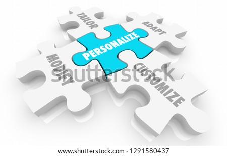 Personalize Customize Unique Puzzle Pieces Words 3d Illustration Photo stock ©