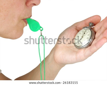 persons with  whistle and stopwatch on white background