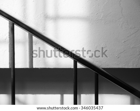 Perspective and stairs shadow line black and white