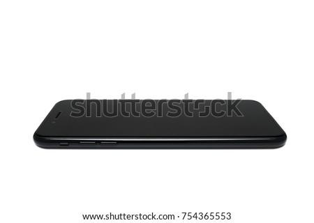 Perspective Black full screen mibile no home botton isolaste on white