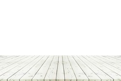 Perspective empty white wooden table with white background including clipping path for product display montage or design layout.