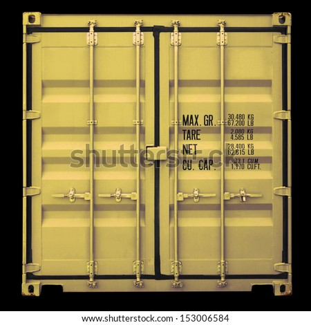 Perspective front view of yellow container doors