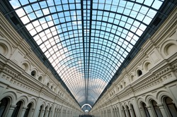 Perspective Glass roof skylight of long building Metalic glass roof of long building