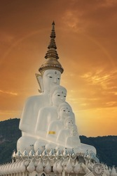 Perspective line from Religious Buddhism in Thailand. Five Buddha Statues, Temple Relics Cliff Hide Glass, Famous Traveling Place in Thailand.