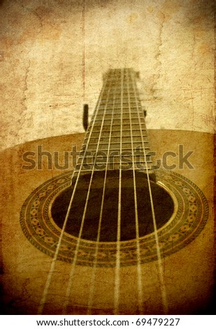 Perspective of classical guitar in grunge retro image background