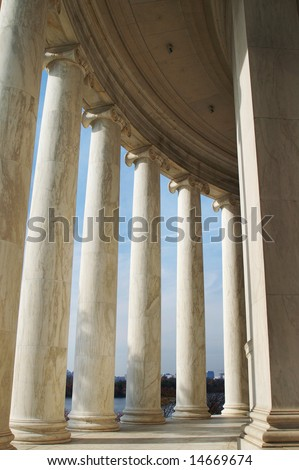 Perspective of Columns, Jefferson Memorial in Washington DC