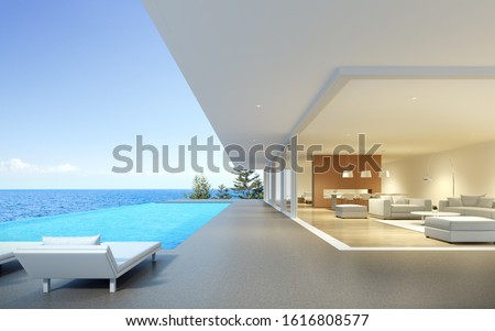 Perspective of modern luxury building with terrace and swimming infinity pool on sea view background,Idea of family vacation. 3D rendering. Foto stock ©