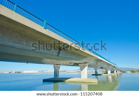 Perspective of the bridge over the river. Vancouver, Canada.