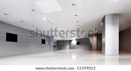 Perspective of the corridor at modern office building