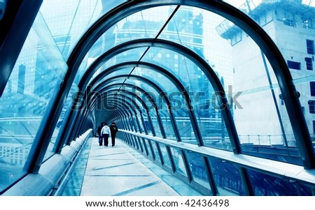 Perspective of the passage toned in blue colo