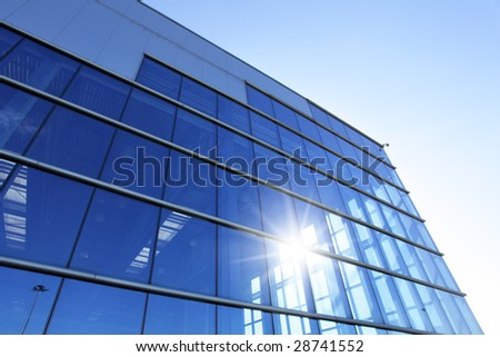 Perspective of wall modern industrial buildingll and sun glare