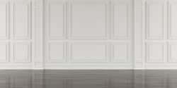 Perspective of white empty room and dark laminate floor,classic interior style.blank space architecture.