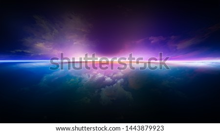 Perspective Paint series. Composition of  clouds, colors, lights and horizon line for projects on illustration, painting, creativity and imagination Stock photo ©