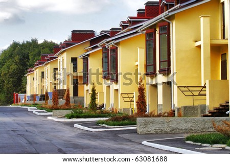 Perspective Row of New Townhouses