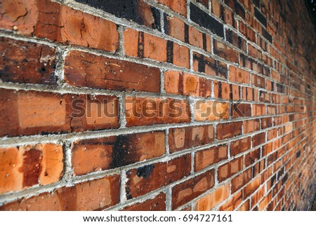 Perspective Side View Of Old Red Brick Wall Texture Background 694727161